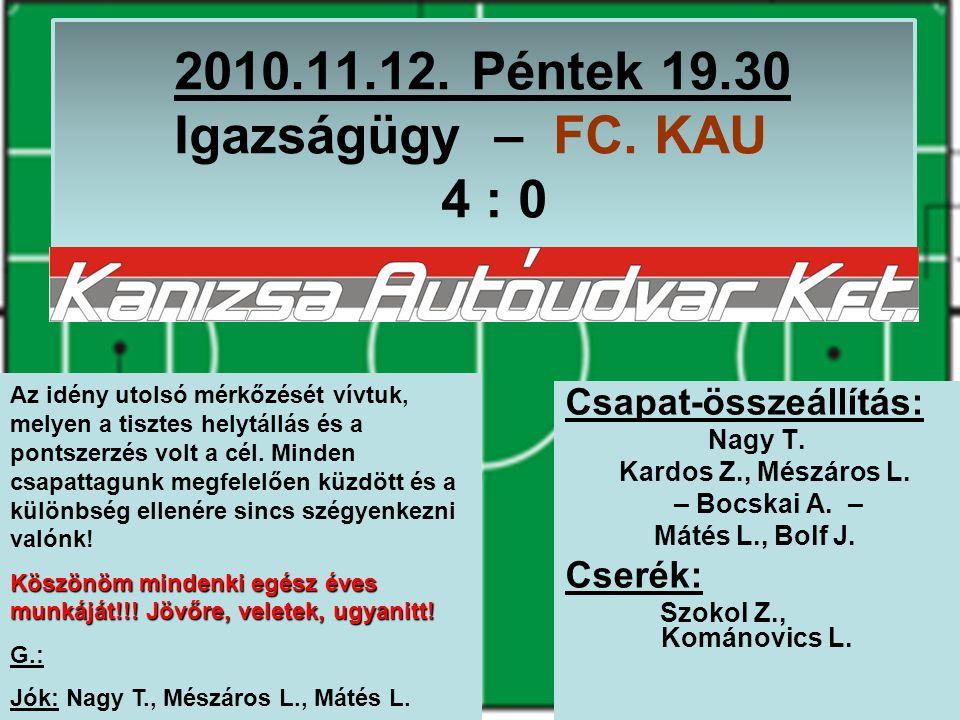 2010.11.12. Péntek 19.30 Igazságügy – FC. KAU 4 : 0 Csapat-összeállítás: Nagy T.