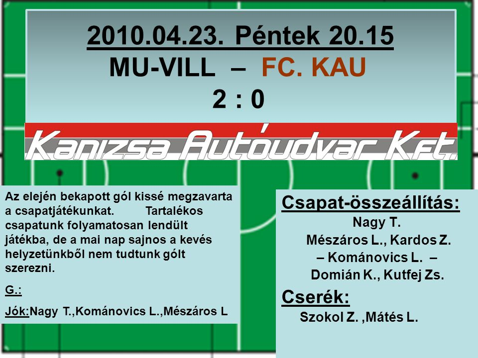 2010.04.23. Péntek 20.15 MU-VILL – FC. KAU 2 : 0 Csapat-összeállítás: Nagy T.