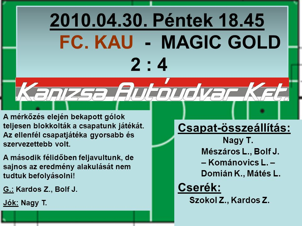 2010.04.30. Péntek 18.45 FC. KAU - MAGIC GOLD 2 : 4 Csapat-összeállítás: Nagy T.