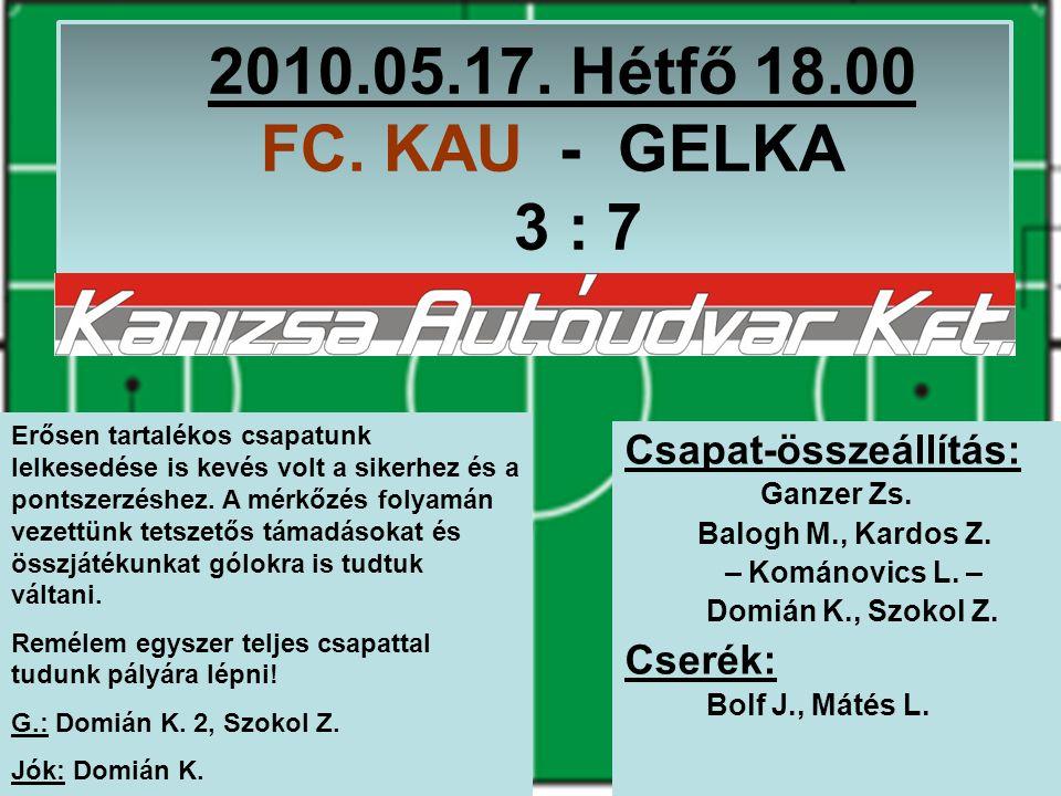2010.05.17. Hétfő 18.00 FC. KAU - GELKA 3 : 7 Csapat-összeállítás: Ganzer Zs.