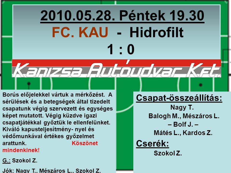 2010.10.29.Péntek 20.15 Gelka-Hirtech – FC. KAU 3 : 1 Csapat-összeállítás: Nagy T.
