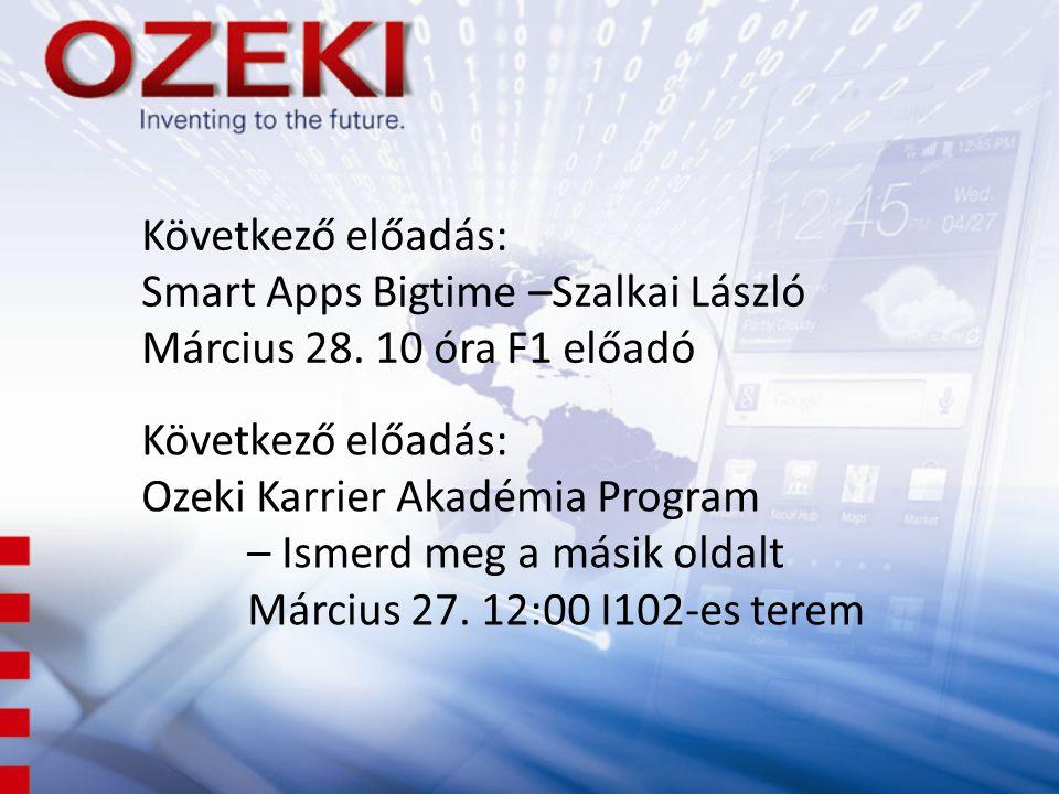 Következő előadás: Smart Apps Bigtime –Szalkai László Március 28. 10 óra F1 előadó Következő előadás: Ozeki Karrier Akadémia Program – Ismerd meg a má