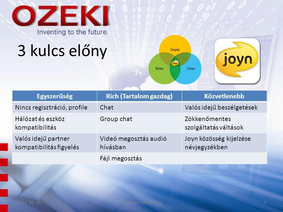 3 kulcs előny EgyszerűségRich (Tartalom gazdag)Közvetlenebb Nincs regisztráció, profileChatValós idejű beszélgetések Hálózat és eszköz kompatibilitás Group chatZökkenőmentes szolgáltatás váltások Valós idejű partner kompatibilitás figyelés Videó megosztás audió hívásban Joyn közösség kijelzése névjegyzékben Fájl megosztás 2014.
