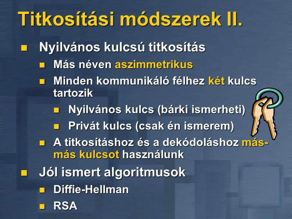 Titkosítási módszerek II.