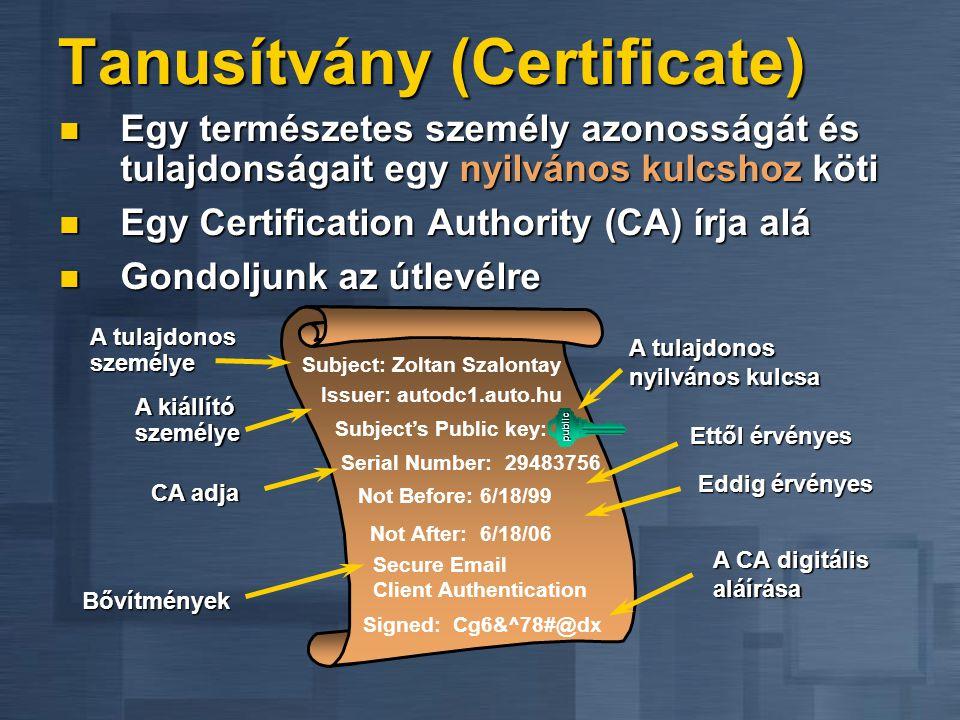 Tanusítvány (Certificate)  Egy természetes személy azonosságát és tulajdonságait egy nyilvános kulcshoz köti  Egy Certification Authority (CA) írja alá  Gondoljunk az útlevélre A tulajdonos nyilvános kulcsa A kiállító személye Subject: Zoltan Szalontay Not Before: 6/18/99 Not After: 6/18/06 Signed: Cg6&^78#@dx Serial Number: 29483756 Subject's Public key: public Secure Email Client Authentication Bővítmények A tulajdonos személye Eddig érvényes Issuer: autodc1.auto.hu A CA digitális aláírása CA adja Ettől érvényes
