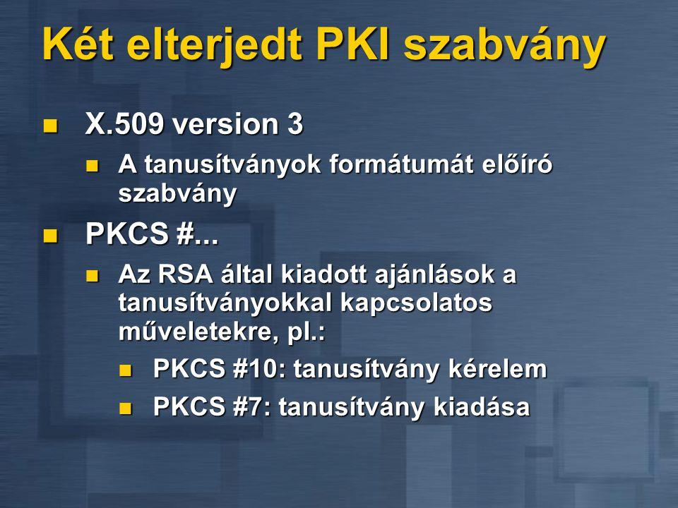 Két elterjedt PKI szabvány  X.509 version 3  A tanusítványok formátumát előíró szabvány  PKCS #...  Az RSA által kiadott ajánlások a tanusítványok