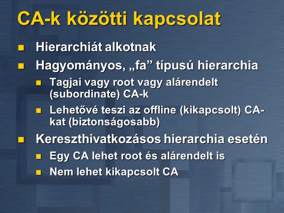 """CA-k közötti kapcsolat  Hierarchiát alkotnak  Hagyományos, """"fa típusú hierarchia  Tagjai vagy root vagy alárendelt (subordinate) CA-k  Lehetővé teszi az offline (kikapcsolt) CA- kat (biztonságosabb)  Kereszthivatkozásos hierarchia esetén  Egy CA lehet root és alárendelt is  Nem lehet kikapcsolt CA"""