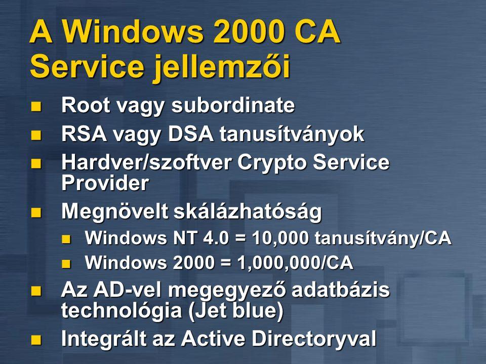 A Windows 2000 CA Service jellemzői  Root vagy subordinate  RSA vagy DSA tanusítványok  Hardver/szoftver Crypto Service Provider  Megnövelt skálázhatóság  Windows NT 4.0 = 10,000 tanusítvány/CA  Windows 2000 = 1,000,000/CA  Az AD-vel megegyező adatbázis technológia (Jet blue)  Integrált az Active Directoryval
