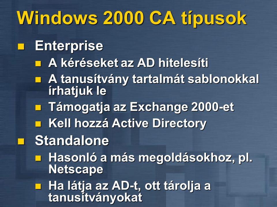Windows 2000 CA típusok  Enterprise  A kéréseket az AD hitelesíti  A tanusítvány tartalmát sablonokkal írhatjuk le  Támogatja az Exchange 2000-et  Kell hozzá Active Directory  Standalone  Hasonló a más megoldásokhoz, pl.