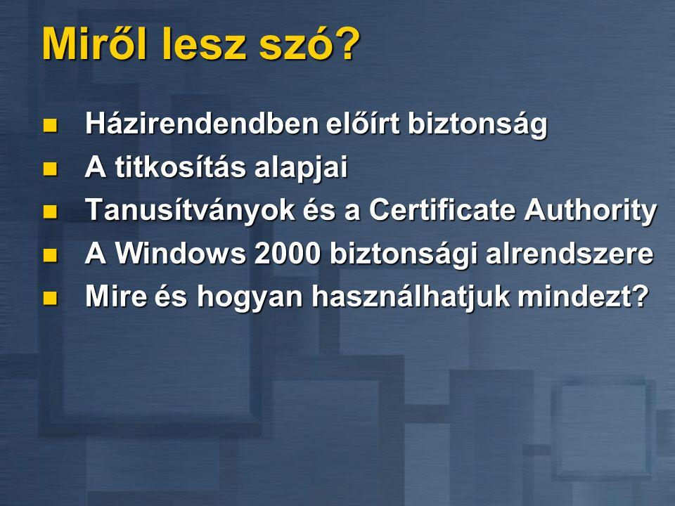 Miről lesz szó?  Házirendendben előírt biztonság  A titkosítás alapjai  Tanusítványok és a Certificate Authority  A Windows 2000 biztonsági alrend