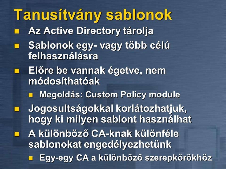 Tanusítvány sablonok  Az Active Directory tárolja  Sablonok egy- vagy több célú felhasználásra  Előre be vannak égetve, nem módosíthatóak  Megoldás: Custom Policy module  Jogosultságokkal korlátozhatjuk, hogy ki milyen sablont használhat  A különböző CA-knak különféle sablonokat engedélyezhetünk  Egy-egy CA a különböző szerepkörökhöz
