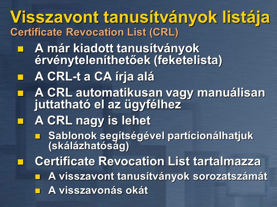 Visszavont tanusítványok listája Certificate Revocation List (CRL)  A már kiadott tanusítványok érvényteleníthetőek (feketelista)  A CRL-t a CA írja alá  A CRL automatikusan vagy manuálisan juttatható el az ügyfélhez  A CRL nagy is lehet  Sablonok segítségével partícionálhatjuk (skálázhatóság)  Certificate Revocation List tartalmazza  A visszavont tanusítványok sorozatszámát  A visszavonás okát