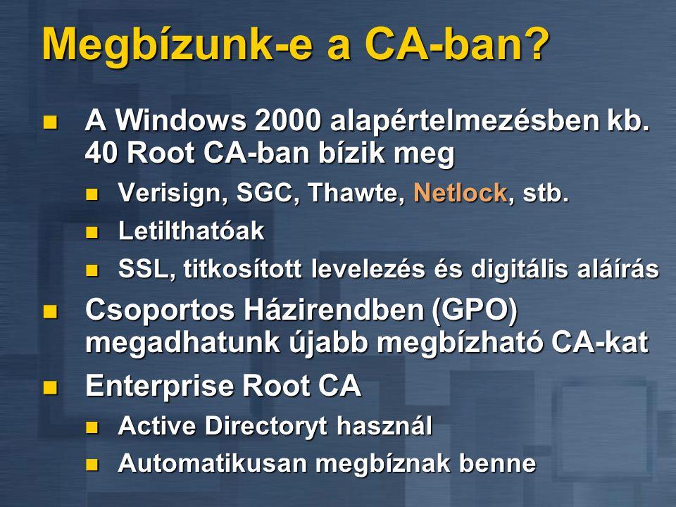 Megbízunk-e a CA-ban?  A Windows 2000 alapértelmezésben kb. 40 Root CA-ban bízik meg  Verisign, SGC, Thawte, Netlock, stb.  Letilthatóak  SSL, tit