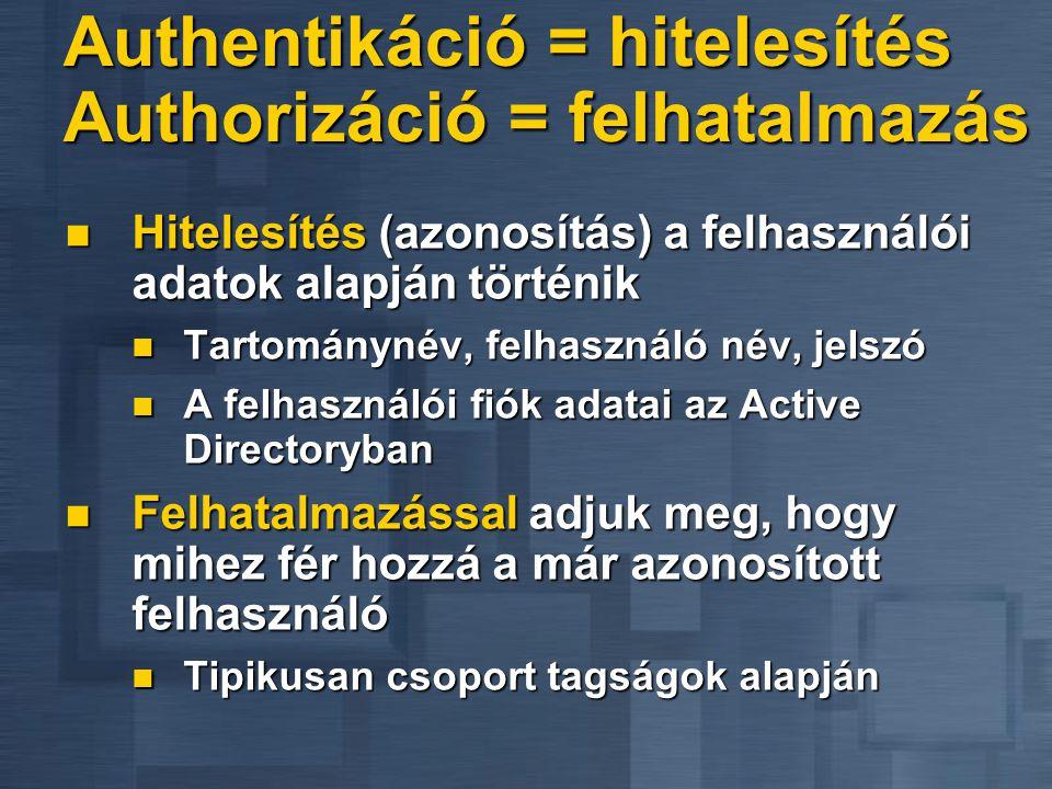 Authentikáció = hitelesítés Authorizáció = felhatalmazás  Hitelesítés (azonosítás) a felhasználói adatok alapján történik  Tartománynév, felhasználó