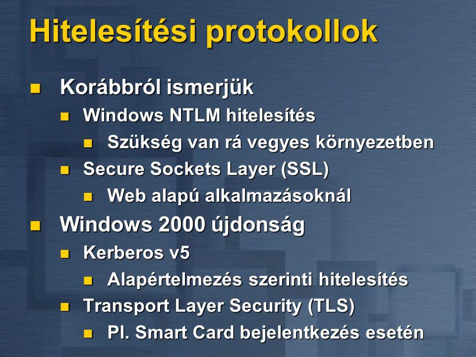 Hitelesítési protokollok  Korábbról ismerjük  Windows NTLM hitelesítés  Szükség van rá vegyes környezetben  Secure Sockets Layer (SSL)  Web alapú alkalmazásoknál  Windows 2000 újdonság  Kerberos v5  Alapértelmezés szerinti hitelesítés  Transport Layer Security (TLS)  Pl.