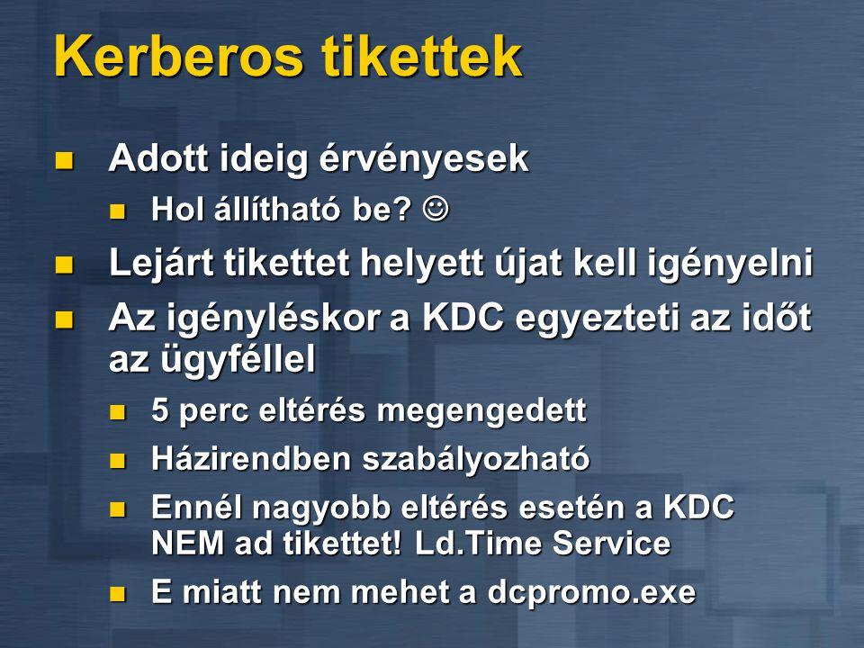 Kerberos tikettek  Adott ideig érvényesek  Hol állítható be?   Lejárt tikettet helyett újat kell igényelni  Az igényléskor a KDC egyezteti az idő