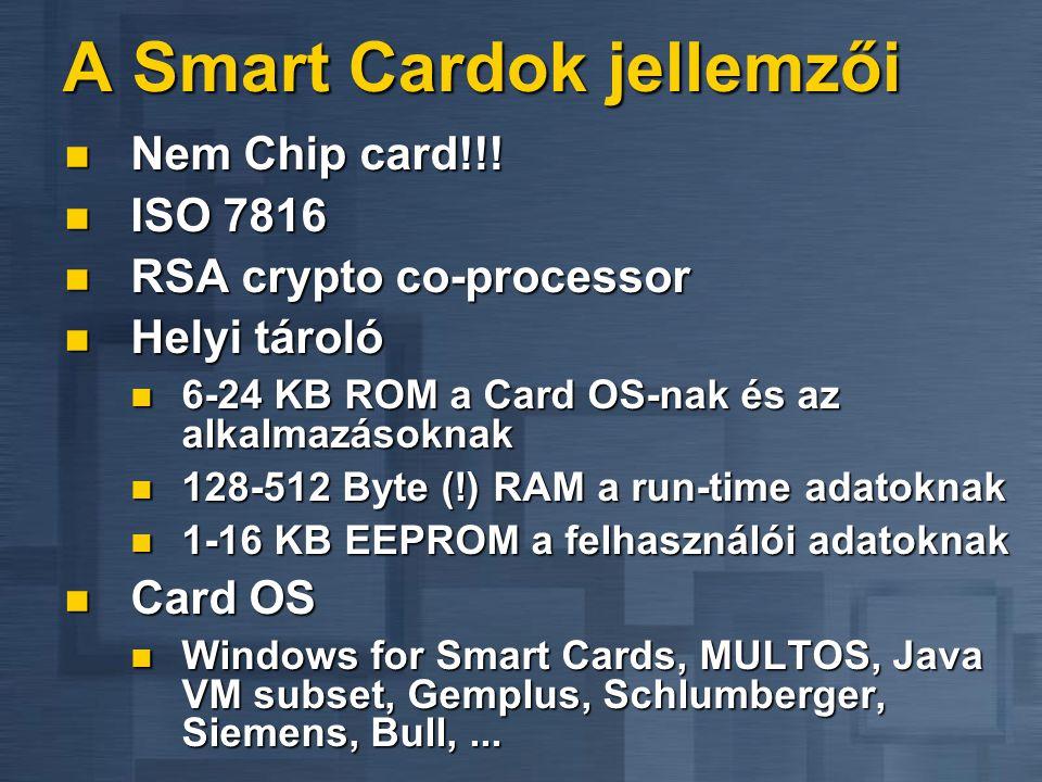 A Smart Cardok jellemzői  Nem Chip card!!!  ISO 7816  RSA crypto co-processor  Helyi tároló  6-24 KB ROM a Card OS-nak és az alkalmazásoknak  12