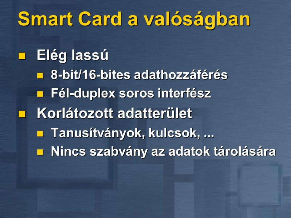 Smart Card a valóságban  Elég lassú  8-bit/16-bites adathozzáférés  Fél-duplex soros interfész  Korlátozott adatterület  Tanusítványok, kulcsok,...
