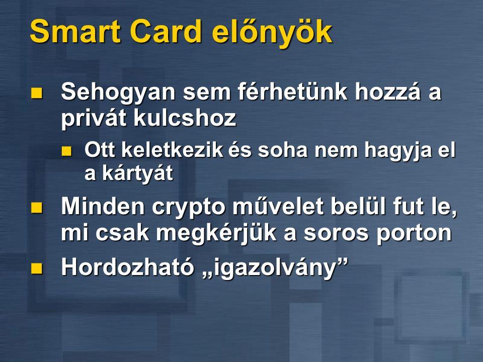 Smart Card előnyök  Sehogyan sem férhetünk hozzá a privát kulcshoz  Ott keletkezik és soha nem hagyja el a kártyát  Minden crypto művelet belül fut