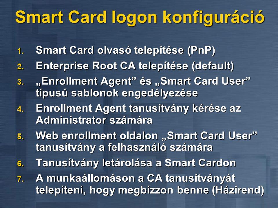 """Smart Card logon konfiguráció 1. Smart Card olvasó telepítése (PnP) 2. Enterprise Root CA telepítése (default) 3. """"Enrollment Agent"""" és """"Smart Card Us"""