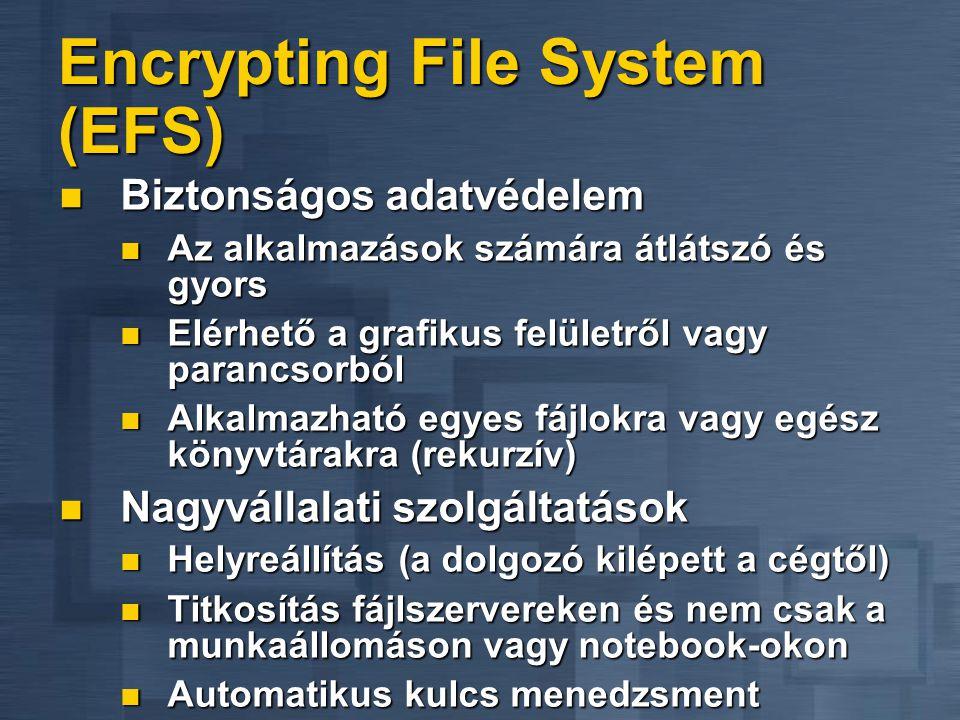 Encrypting File System (EFS)  Biztonságos adatvédelem  Az alkalmazások számára átlátszó és gyors  Elérhető a grafikus felületről vagy parancsorból  Alkalmazható egyes fájlokra vagy egész könyvtárakra (rekurzív)  Nagyvállalati szolgáltatások  Helyreállítás (a dolgozó kilépett a cégtől)  Titkosítás fájlszervereken és nem csak a munkaállomáson vagy notebook-okon  Automatikus kulcs menedzsment