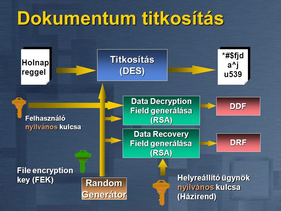 Dokumentum titkosítás Data Recovery Field generálása (RSA) DRF Helyreállító ügynök nyilvános kulcsa (Házirend) Data Decryption Field generálása (RSA) DDF Felhasználó nyilvános kulcsa Titkosítás (DES) Holnap reggel *#$fjd a^j u539 Random Generátor File encryption key (FEK)