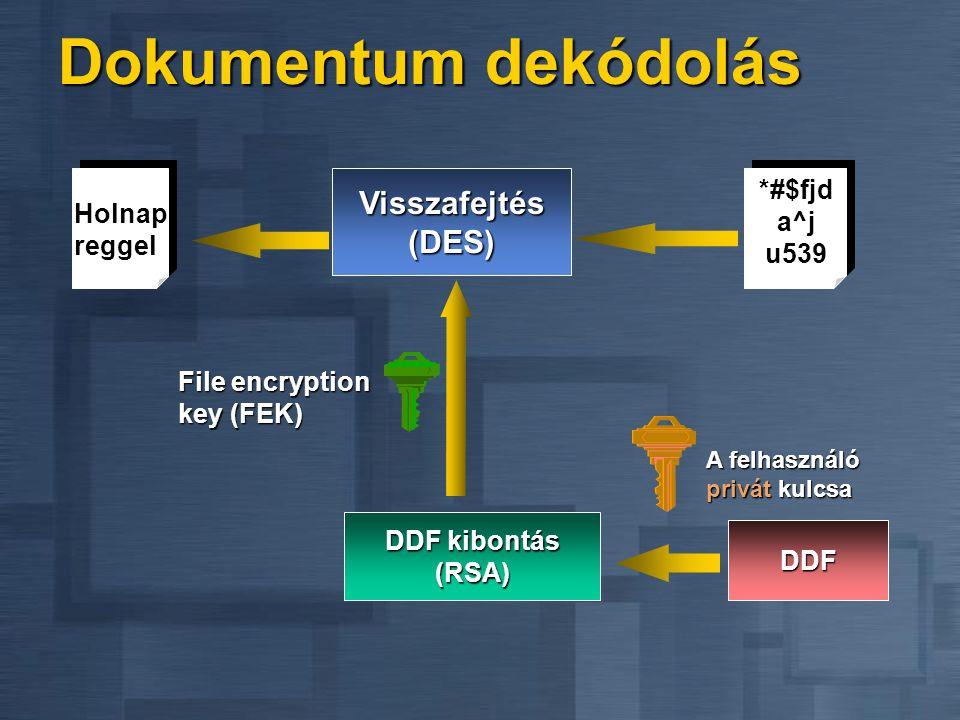 Dokumentum dekódolás DDF kibontás (RSA) DDFDDFDDFDDF A felhasználó privát kulcsa Visszafejtés (DES) Holnap reggel *#$fjd a^j u539 File encryption key (FEK)