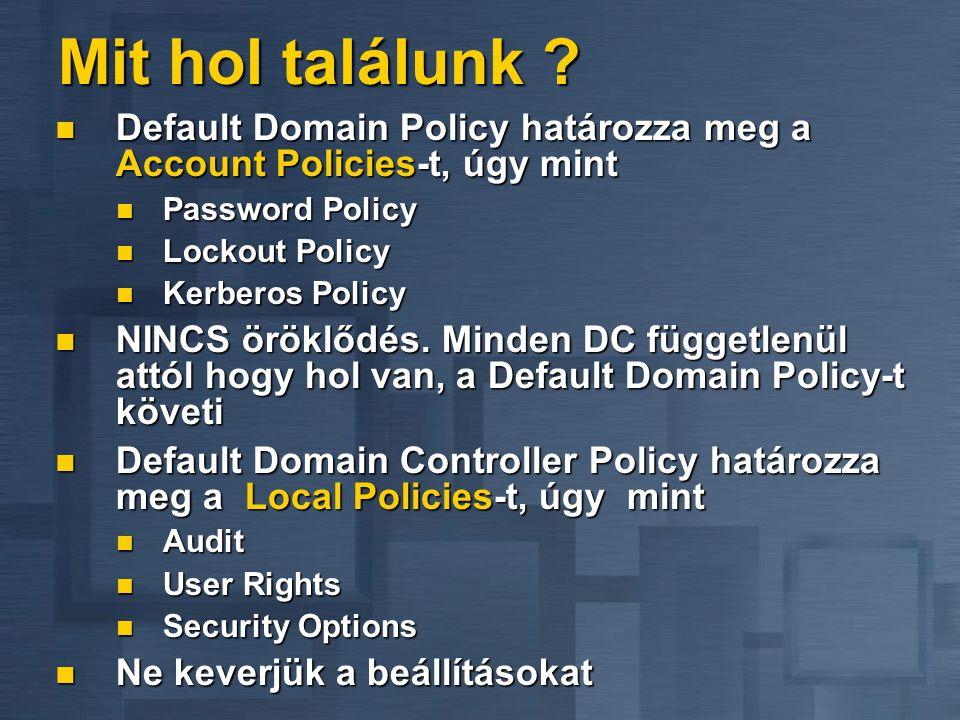 Mit hol találunk ?  Default Domain Policy határozza meg a Account Policies-t, úgy mint  Password Policy  Lockout Policy  Kerberos Policy  NINCS ö