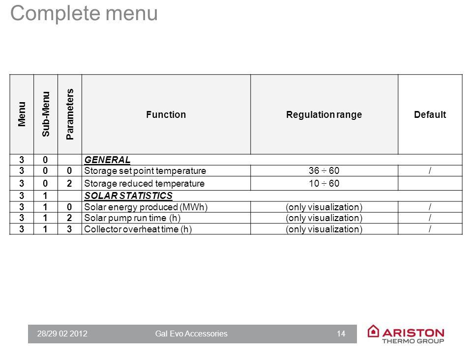 28/29 02 2012Gal Evo Accessories 14 Menu Sub-Menu Parameters FunctionRegulation rangeDefault 30GENERAL 300Storage set point temperature36 ÷ 60/ 302Sto