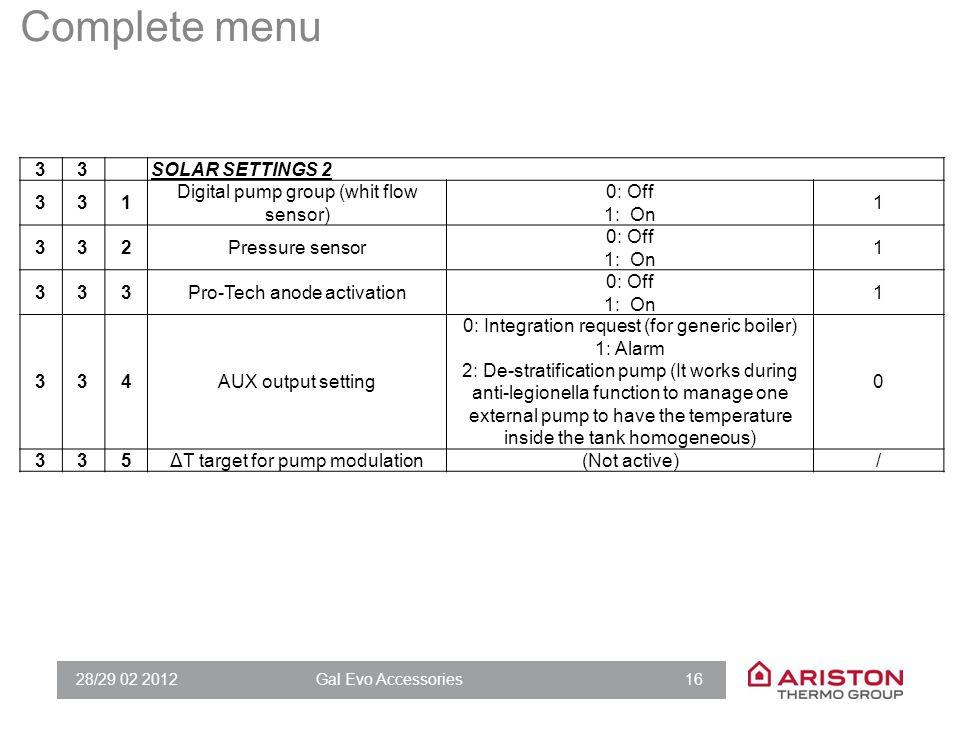 28/29 02 2012Gal Evo Accessories 16 33SOLAR SETTINGS 2 331 Digital pump group (whit flow sensor) 0: Off 1: On 1 332Pressure sensor 0: Off 1: On 1 333P