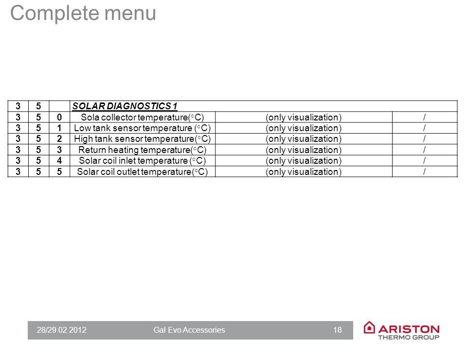 28/29 02 2012Gal Evo Accessories 18 35SOLAR DIAGNOSTICS 1 350Sola collector temperature(°C)(only visualization)/ 351Low tank sensor temperature (°C)(o