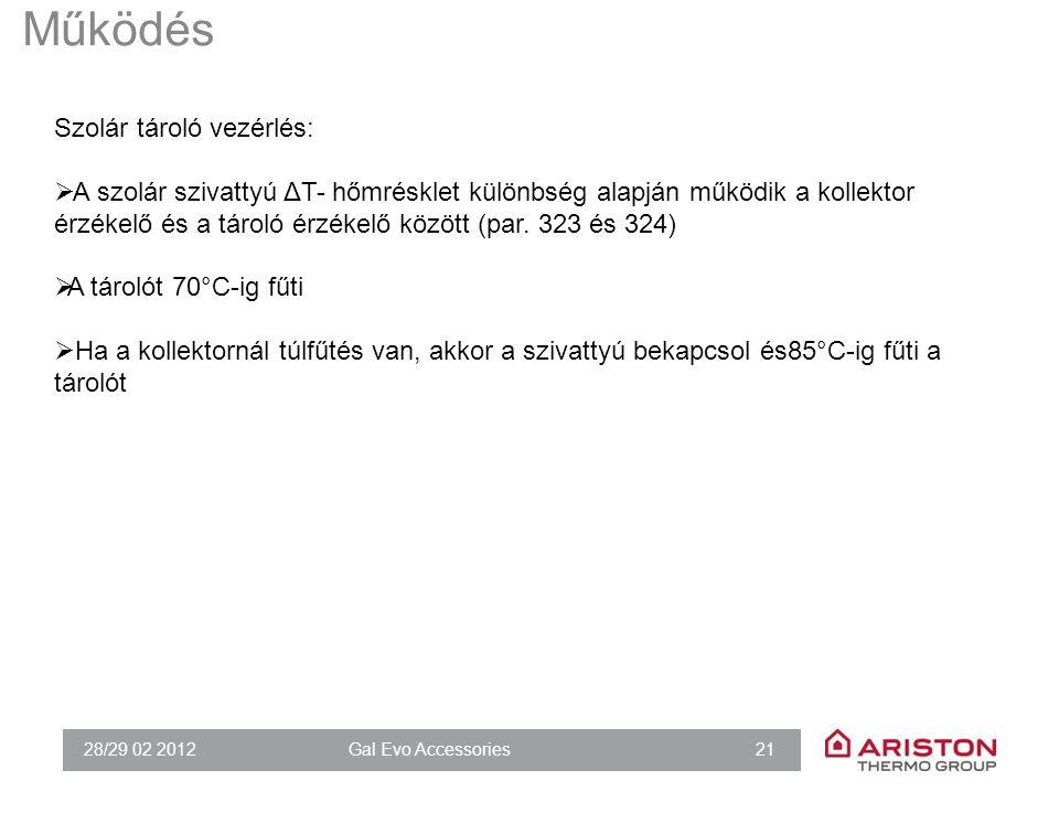 28/29 02 2012Gal Evo Accessories 21 Működés Szolár tároló vezérlés:  A szolár szivattyú ΔT- hőmrésklet különbség alapján működik a kollektor érzékelő