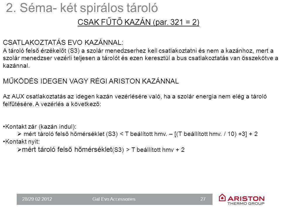 28/29 02 2012Gal Evo Accessories 27 CSATLAKOZTATÁS EVO KAZÁNNAL: A tároló felső érzékelőt (S3) a szolár menedzserhez kell csatlakoztatni és nem a kazá