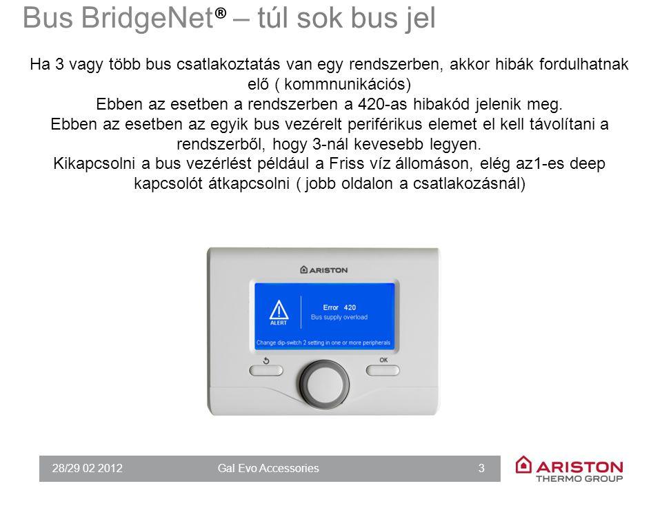 28/29 02 2012Gal Evo Accessories 3 Ha 3 vagy több bus csatlakoztatás van egy rendszerben, akkor hibák fordulhatnak elő ( kommnunikációs) Ebben az eset