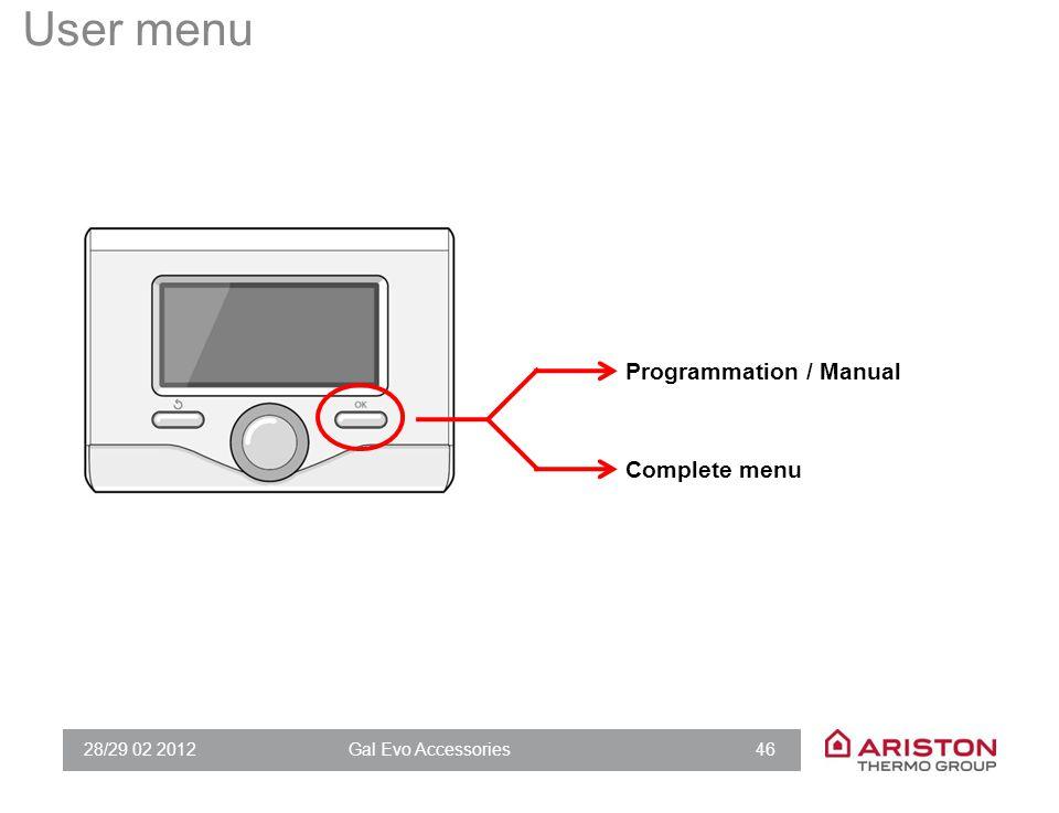 28/29 02 2012Gal Evo Accessories 46 User menu Programmation / Manual Complete menu