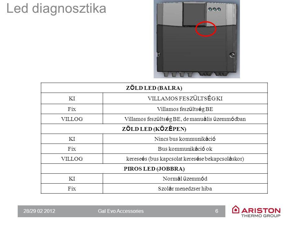 28/29 02 2012Gal Evo Accessories 77 43DIAGNOSTICS 430Zone 1 room temperature (°C)(only visualization)/ 431 Zone 1 room temperature set point (°C) (only visualization)/ 432Zone 1 delivery temperature (°C)(only visualization)/ 433Zone 1 return temperature (°C)(only visualization)/ 434Zone 1 heat request OFF: no ON: yes (only visualization) / 435Zone 1 pump status OFF: off ON: on (only visualization) / 44ZONE MODULE SETTINGS 440Zone 1 pump modulation 0: Fix 1: Modulating (ΔT) 2 : Modulating (pressure) 1 441ΔT target for pump modulation4 ÷ 25 7 (par.