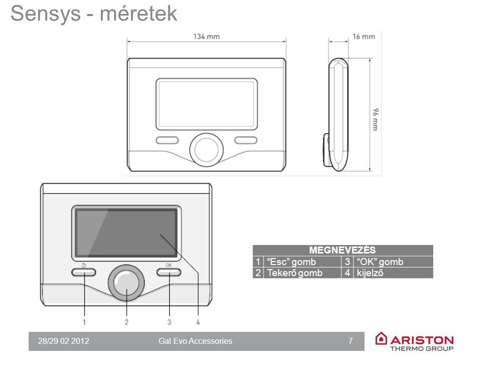 """28/29 02 2012Gal Evo Accessories 7 Sensys - méretek MEGNEVEZÉS 1""""Esc"""" gomb3""""OK"""" gomb 2Tekerő gomb4kijelző"""
