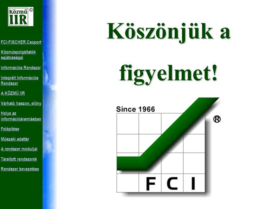 FCI-FISCHER Csoport Közműszolgáltatók sajátosságai Információs Rendszer Integrált Információs Rendszer A KÖZMŰ IIR Várható haszon, előny Helye az információáramlásban Felépítése Műszaki adattár A rendszer moduljai Társított rendszerek Rendszer bevezetéseKérdések Kérdéseire választ kaphat munkatársainktól a 316-5157-es telefonszámon vagy weboldalunkon a www.fci-fischer.hu-n.