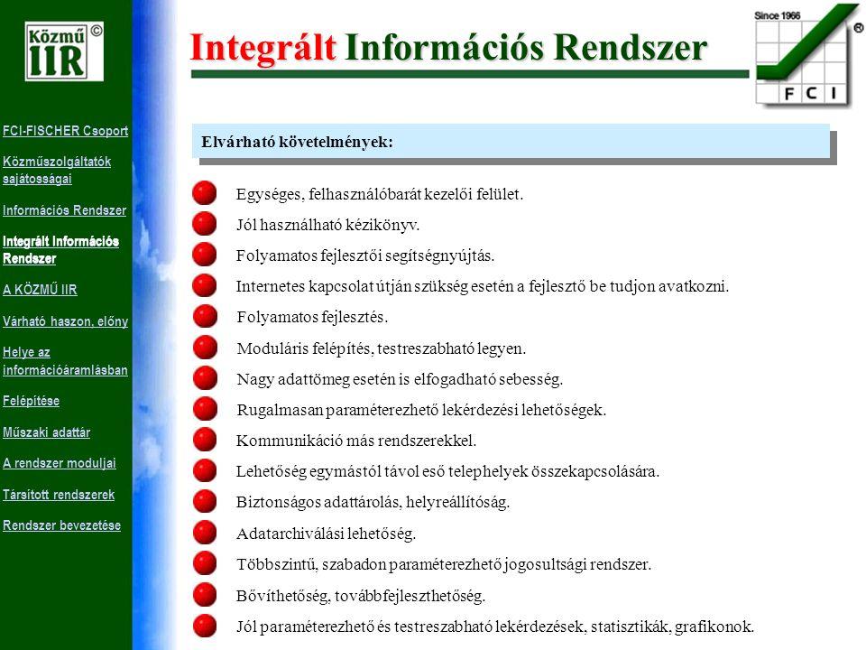 FCI-FISCHER Csoport Közműszolgáltatók sajátosságai Információs Rendszer Integrált Információs Rendszer A KÖZMŰ IIR Várható haszon, előny Helye az információáramlásban Felépítése Műszaki adattár A rendszer moduljai Társított rendszerek Rendszer bevezetése Integrált Információs Rendszer Több információs részrendszer informatikai egyesítésével jön létre.
