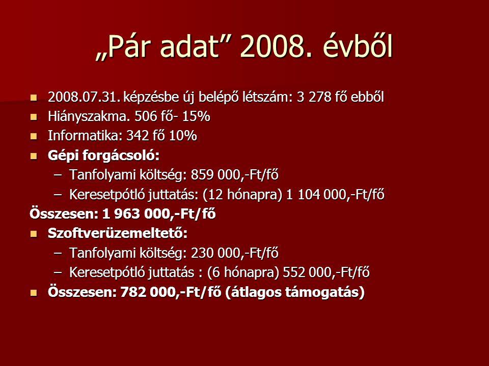 """""""Pár adat 2008. évből  2008.07.31. képzésbe új belépő létszám: 3 278 fő ebből  Hiányszakma."""