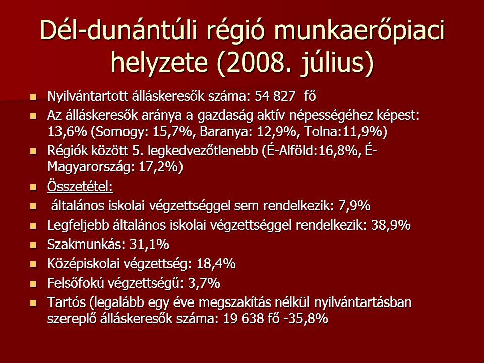 Dél-dunántúli régió munkaerőpiaci helyzete (2008.