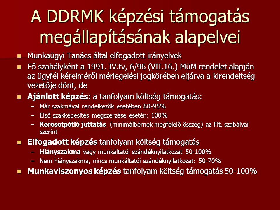 A DDRMK képzési támogatás megállapításának alapelvei  Munkaügyi Tanács által elfogadott irányelvek  Fő szabályként a 1991.