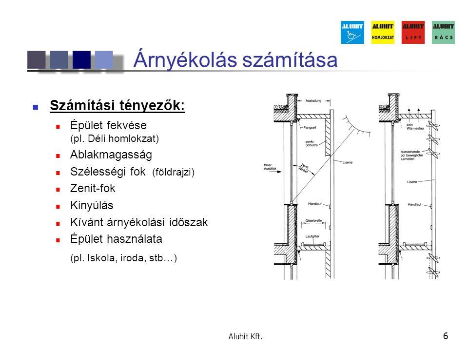 Aluhit Kft. 6 Árnyékolás számítása  Számítási tényezők:  Épület fekvése (pl. Déli homlokzat)  Ablakmagasság  Szélességi fok (földrajzi)  Zenit-fo