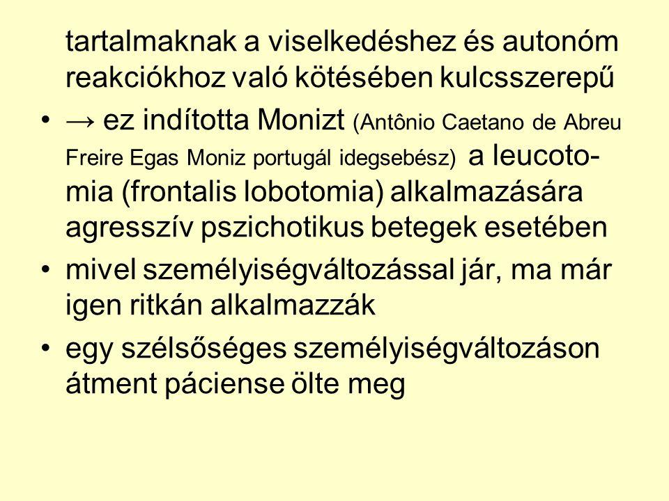 tartalmaknak a viselkedéshez és autonóm reakciókhoz való kötésében kulcsszerepű •→ ez indította Monizt (Antônio Caetano de Abreu Freire Egas Moniz por