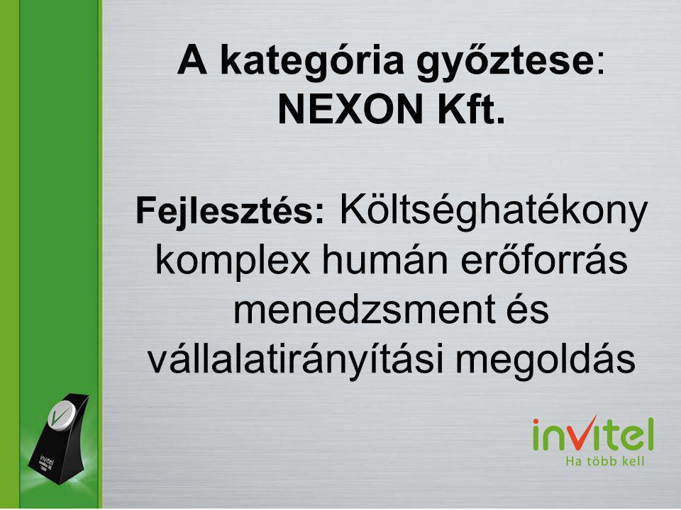 A kategória győztese: NEXON Kft.