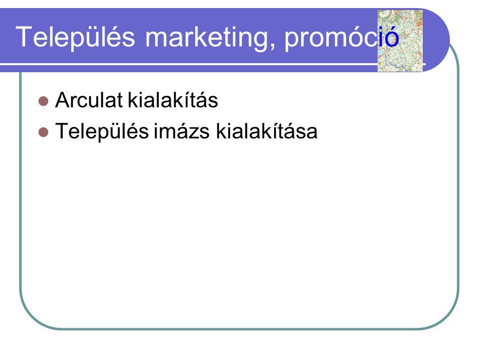 Település marketing, promóció  Arculat kialakítás  Település imázs kialakítása