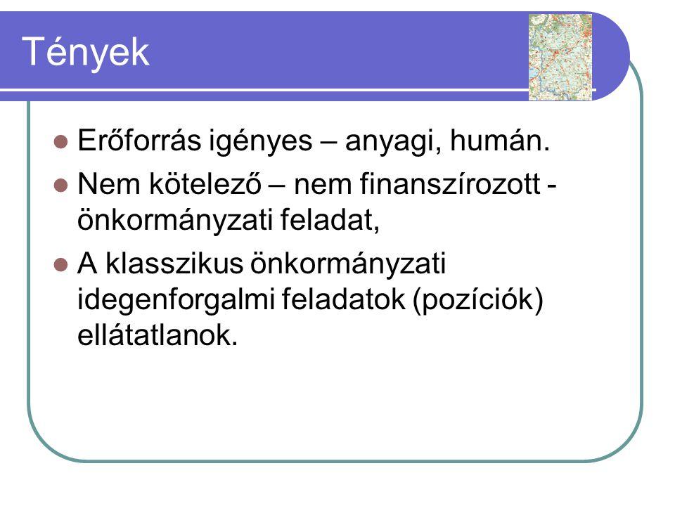 Tények  A térségi/települési összefogás kezdetleges.
