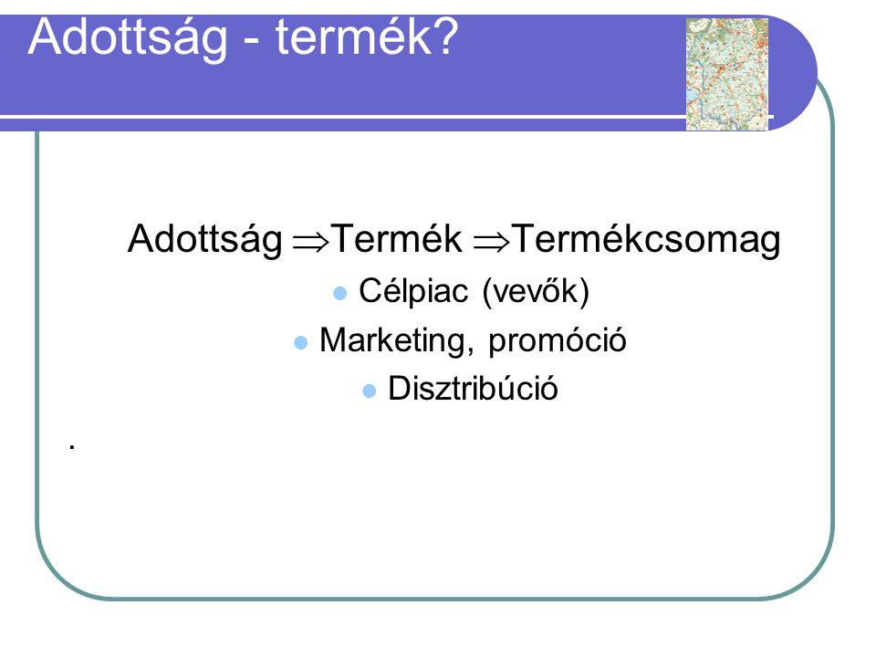 Adottság  Termék  Termékcsomag  Célpiac (vevők)  Marketing, promóció  Disztribúció.