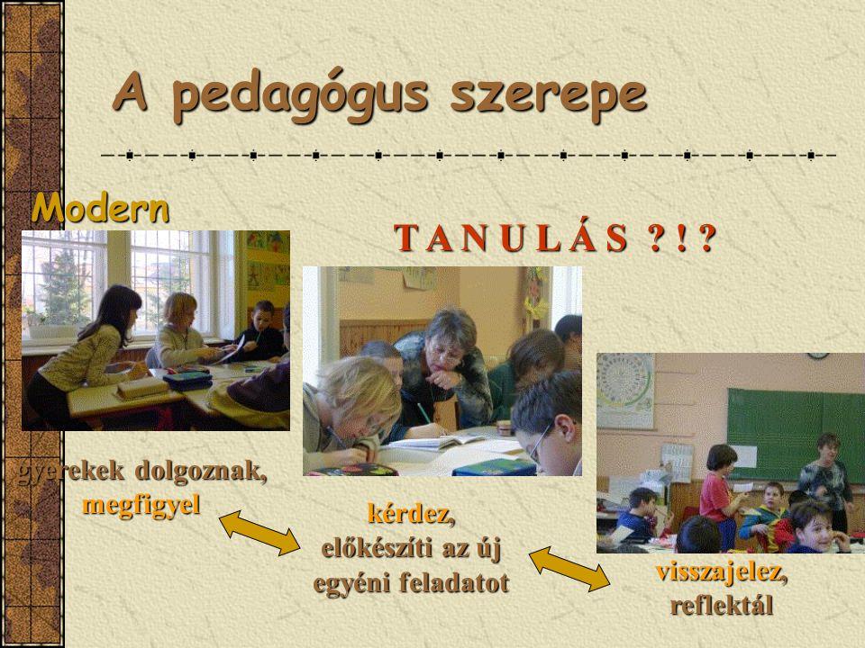 A pedagógus szerepe Modern gyerekek dolgoznak, megfigyel kérdez, előkészíti az új egyéni feladatot visszajelez, reflektál T A N U L Á S .
