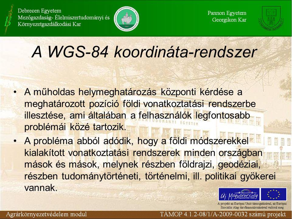 A WGS-84 koordináta-rendszer •A műholdas helymeghatározás központi kérdése a meghatározott pozíció földi vonatkoztatási rendszerbe illesztése, ami ált